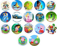 """Personalised Character 7.5"""" Round Beautiful Icing Cake Topper, Various Designs"""
