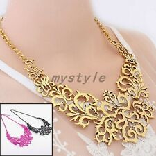 Hollow Out Flower Adjustable Gold Tone Women Choker Bib Necklace Jewelry Pendant