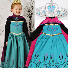 Girls Ice Queen Elsa Coronation Costume Party Cosplay Dress with Cape & Tiara