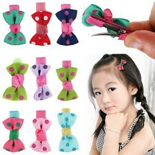 10pcs Girls Hair Clips Baby Kids Hair Pin Ribbon Bow Hair Accessories for Gift