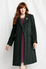 NWT Lands' End Women's Plus  Wool Double Breasted Coat  16W - 26W  Bottle Green