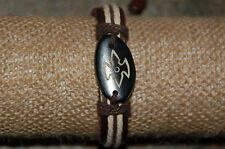 """Hemp and Leather Tribal Bracelet--""""No Fear"""" Black Or Earth Tone Etched Charm"""