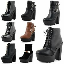 New Ladies High Block Heel Platform Lace Up Cleated Sole Ankle Boots Size UK 3-8