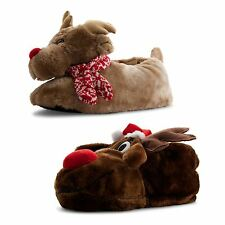 Mens Ladies Dunlop Xmas Soft Novelty Animal Slippers Winter Rudolph Reindeer