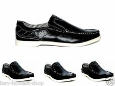 MENS CASUAL DECK BOAT LOAFERS SMART SLIP ON MOCCASIN SHOES BLACK
