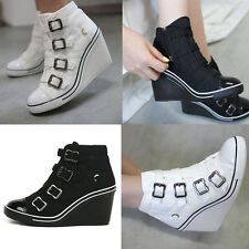 Holly 4 Band Wedges Trainers Heels Sneakers Platform High Top Ankles Boots Shoes