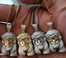 Mini Gold Plated Jesus Piece Chain Necklace Stainless Steel Iced Out