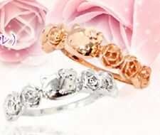 Hello Kitty Silver Ring Rose Diamond Wedding Engagement Jewelry from Japan T2358