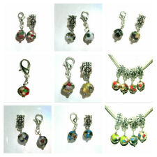 EUROPEAN OR LOBSTER CLASP CLIP ON STYLE CLOISONNE ENAMEL BEAD DANGLE CHARMS