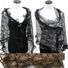 Glitter Sparkle Sequin Style Shawl Wedding Party Evening Scarf  Wrap Fringe Lace