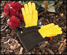 Gold Leaf 'Tough Touch' leather gardening gloves - 2 FREE PACKETS OF SEEDS