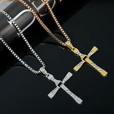Nice New Fashion Cool Men's Brave Cross Crystal Pendant Silver Gold Necklace