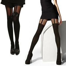 Hot Women Sexy Cute Stockings Pantyhose Tattoo Mock Bow Suspender Sheer Tights