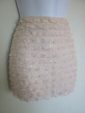 BNWT MISO NUDE GOLD SHIMMER RUFFLE STRETCH BODYCON MICRO MINI SKIRT SIZE 8