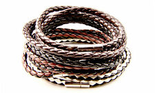Mens Bracelet Wristband Braided Leather Triple Wrap Stainless Steel Clasp