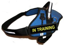 BLUE Professional Service Dog Harness / Vest Includes 2 'IN TRAINING' Badges