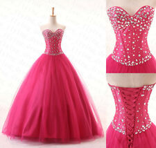 Stock New Stone Prom Ball Gown Quinceanera Dress Pageant Formal Evening Gowns