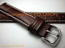 18mm 20mm 22mm Premium Brown Calf Leather Watch Strap Band With Alligator Grain