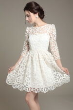 Elegant Womens Trendy Lace Sunflower Pattern 3/4 sleeve dress white DX
