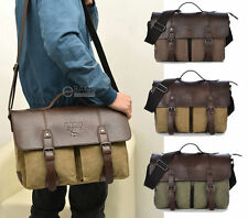 Men's Vintage Canvas Briefcase Satchel Handbag Shoulder Laptop Messenger Bag New