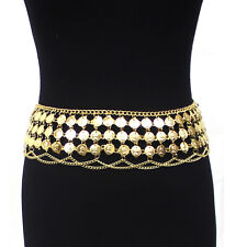 New Women Hip Scarf Belly Dance Gold Full Metal Coin Chain Belt Tribal Costume