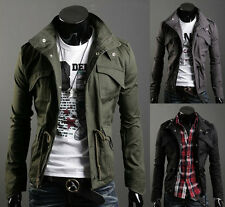Spring Autumn Military Style Men's Coat Jacket Casual Slim Zip Button Overcoat