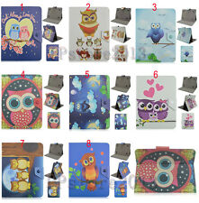 "Thin Folio Cute Cartoon Owl Printed Leather Stand Case Cover For 7.9"" 8"" Tablet"