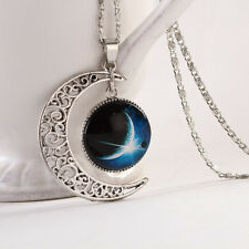 New Style Galaxy Glass Cabochon Pendant Moon Necklace Personality Chain Gifts