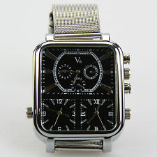 V6 NEW men's sports watch 3/THREE time zones stainless steel band fashion