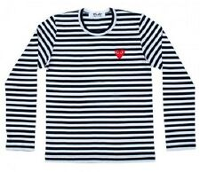 """COMME Des GARCONS CDG (7UK) """"PLAY RED HEART"""" MEN'S LONG SLEEVE WHITE T-SHIRT"""