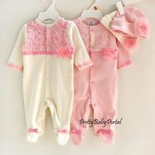 NEW GIRLS Baby Infant Newborn Clothes One-Piece Lace Romper+Hat