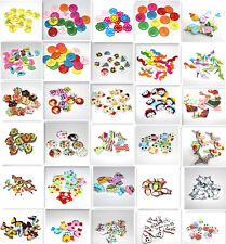 10pcs Mixed Colors DIY Cute Painted wooden cartoon Sewing Buttons Scrapbooking