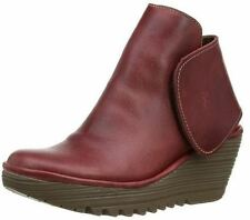 Fly london Yogi Cordoba Red Leather Womens Ankle Wedge Shoes Boots