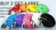 Flat Noodle USB Data Charger Cable Lead For IPHONE 6+ 6 5S 5C 5 IPAD IPOD