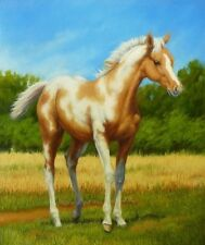 AMERICAN PAINT HORSE TOBIANO PALOMINO FOAL COUNTED CROSS STITCH PATTERN