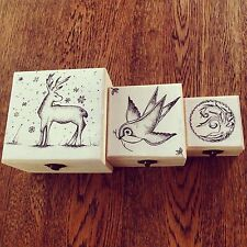 Hand decorated keepsake/trinket wooden boxes