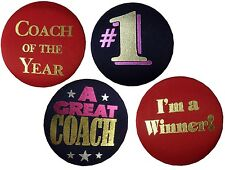 Pin Back Button Satin Covered Great Coach of the Year #1 Player Winner Team