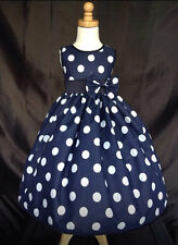 Navy Blue Cotton Polka Dot Cute 50's inspired Party Dress