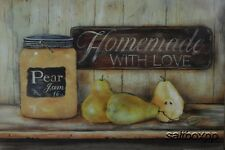 "BR204 Pear Jam Pam Britton 12""x16"" framed or unframed print art kitchen"