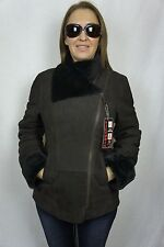NEW WOMEN 100% GENUINE SHEARLING SUEDE LEATHER BROWN COAT JACKET FUR XS-5XL NWT