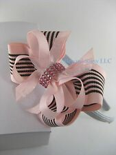 Girls Rhinestone Bling Boutique Hair Bow Light Pink Stripe Gray Headband or Clip