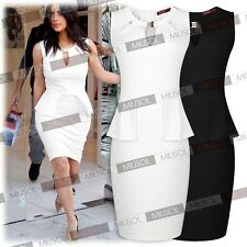 Womens Casual Business Office Cocktail Party Peplum Bodycon Pencil OL Dresses