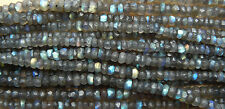 "Faceted Labradorite beads 3-4mm or 4-5mm hand faceted chatoyant 14"" strands"