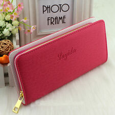New Women Lady Girl Faux Leather Wallet Zip Around Case Purse Cards Long Big Bag