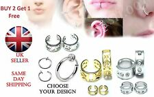 Fake Spring Clip On Nose Ring,Earring, Septum,Magnetic Hoops No Piercing needed