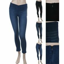 Washed Denim Leggings Jeggings Skinny Stretchy Waistband Side Zipper Span S M L