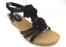 WOMENS Sz 7.8.9.10 Mid Wedge Ankle Strap FLOWER Black Padded Comfy SANDALS Shoes