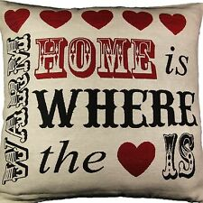 """HOME IS WHERE HEART WARM CUSHION COVER LUXURY TAPESTRY QUALITY 18"""" 45 x 45cm"""