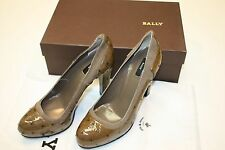 NWB Bally Shoes Woman's Brown Ostrich Suede Trim Pumps, Heels, New
