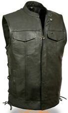MEN'S MOTORCYCLE SON OF ANARCHY LEATHER VEST 2 GUN POCKETS INSIDE SIDE LACES
